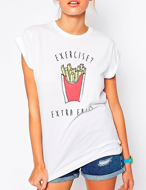 DTLA Print exercise extra fries tee